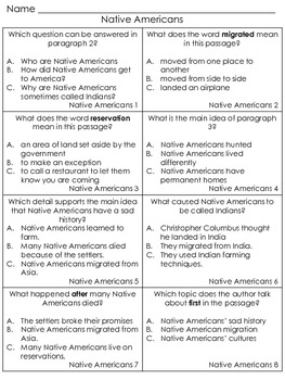 Content Area Reading: Native Americans (Fluency & Comprehension) Great Test Prep