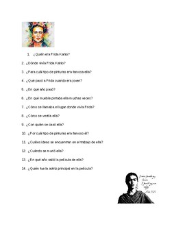 Content Based Instruction:  Frida Kahlo Reading and Worksheet