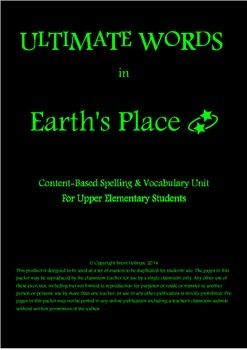 Content-Based Spelling & Vocabulary Unit - Earth's Place