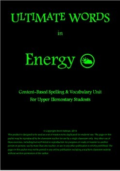Content-Based Spelling & Vocabulary Unit - Energy
