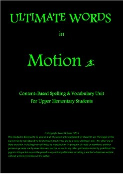 Content-Based Spelling & Vocabulary Unit - Motion