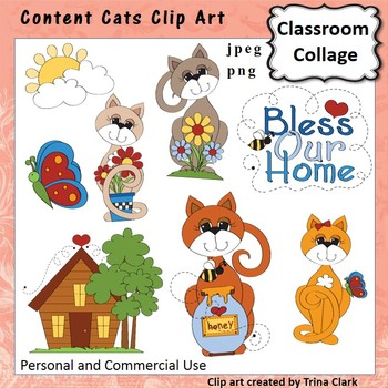 Content Cats Clip Art - Color - personal & commercial use