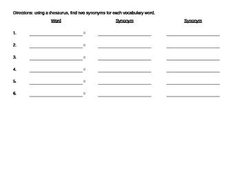 Content Clues Vocabulary Sheet for Article or Passage