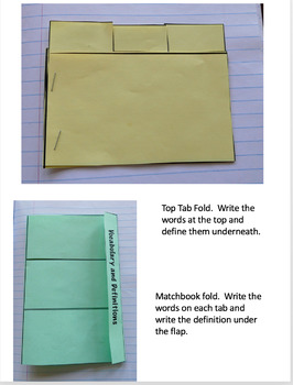 Vocabulary Flaps And Folds For Interactive Notebooks