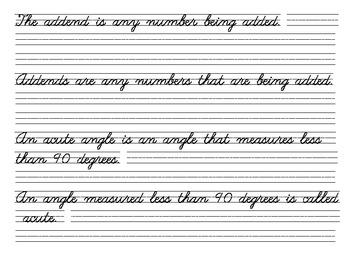 Content Cursive Math Standards