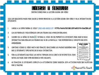 Content Video and Interactive Work Sheet- Lines and Angles - Spanish