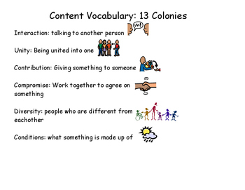 Content Vocabulary: 13 Colonies