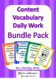 Content Vocabulary Daily Work Bundle Pack - All Four Units in One!