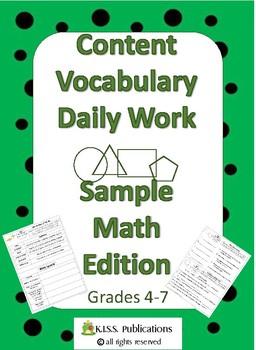 Content Vocabulary Daily Work Sampler Set