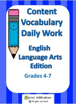 Content Vocabulary Daily Work for ELA