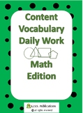 Content Vocabulary Daily Work for Mathmatics