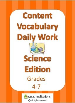 Content Vocabulary Daily Work for Science