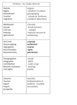 Content Vocabulary Daily Work for U.S. History