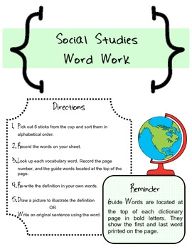 Dictionary Skills and Word Work- S.S. Edition