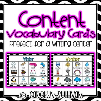 Content Vocabulary Writing Cards - Perfect For A Writing Center!