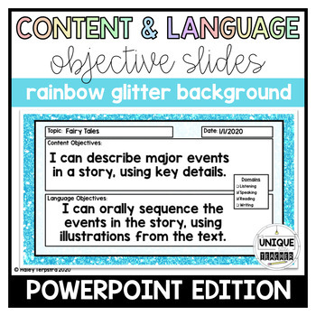 Content and Language Objective Slides: Rainbow Glitter Background