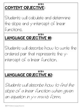 ELL/ESL Math:Content and Language Objectives-Identifying Slope and y-intercept