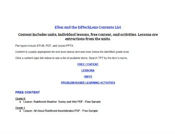 Contents List from Ellen at the EdTechLens TpT Store