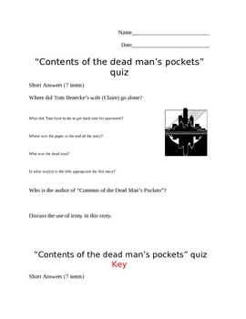 """Contents of a Dead Man's Pockets"" by Jack Finney Quiz"