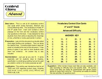 Context Clue Card Sets - Advanced