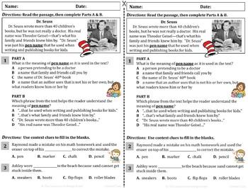 NEW! Context Clue ELA Reading Drill / Exit Slip