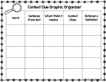 context clues graphic organizer worksheets