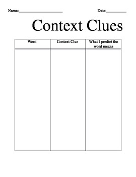 Context Clue Graphic Organizer that can be used for ALL ages, grades and levels!