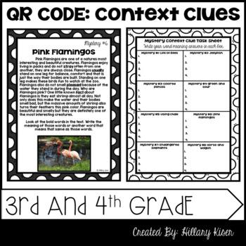 QR Code Context Clues: 3rd and 4th Grade