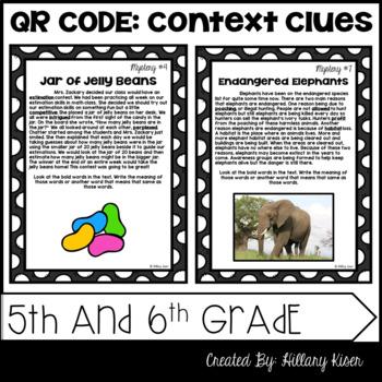 QR Code Context Clues: 5th and 6th Grade