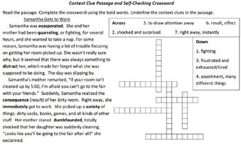 Context Clue Passage with Crossword Puzzle (Self-Checking)