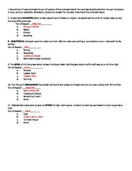 Context Clue Practice Worksheet