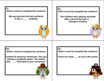 Context Clue Practice task Cards-Grades 2-3 Fun Owl Theme