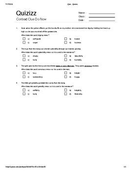 Context Clue Quiz (4 Questions) w/ Key