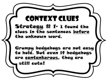 Context Clue Strategy Posters and Task Cards