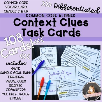 Context Clues Task Cards, Differentiated & Common Core Aligned