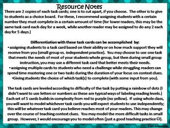 Context Clue Task Cards:  Differentiating In The Reading Classroom