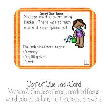 Context Clue Task Cards Summer