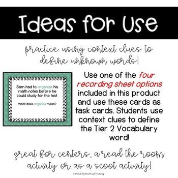 Context Clue Task Cards- Using Tier 2 Vocabulary SET 1
