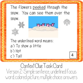 Context Clue Task Cards: Winter