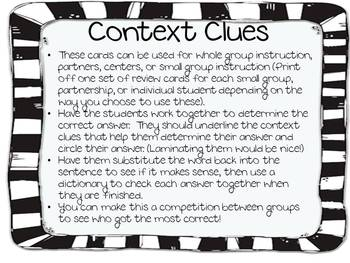 Context Clue Task Cards to Support Common Core Standards