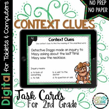 Context Clues Digital Task Cards with Reading Comprehension - Paperless Option