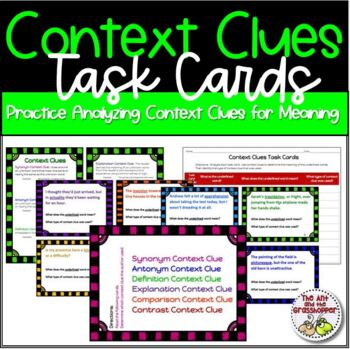 Reading - Context Clues 101:  Task Cards - Upper Grades Higher Level Reading