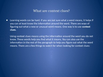 Power point: Context Clues