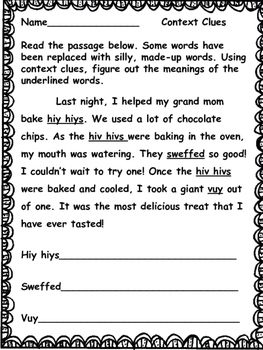 Using Context Clues: A Silly Word Activity