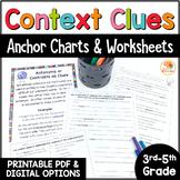 Context Clues Worksheets - No Prep Printables and Anchor Charts - 3rd-5th grade