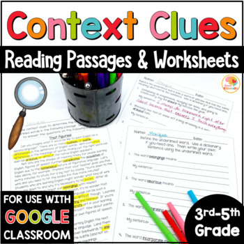 Context Clues Passages, Worksheets, and Anchor Charts for 3rd-5th grade