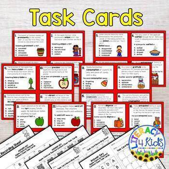 Context Clues Task Cards (Apple Festival Themed) for Grades 3-5