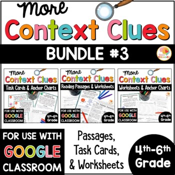 Context Clues Printables, Reading Passages, and Task Cards BUNDLE