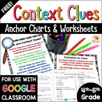 photo regarding Clue Cards Printable titled Context Clues Worksheets: Anchor Charts and Printables Totally free
