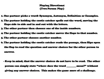 Context Clues Game 3rd, 4th, 5th Grade Vocabulary Practice